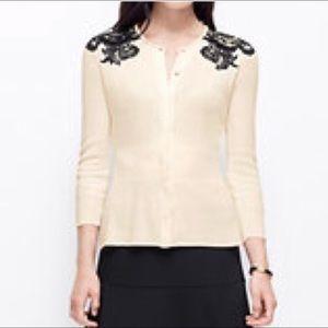 Ann Taylor Black & Cream w/ Lace Sweater, Size S
